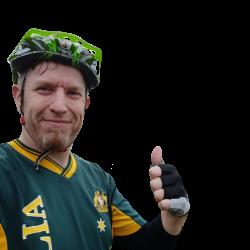 Fahrradnavigation - Oliver mit Daumen hoch